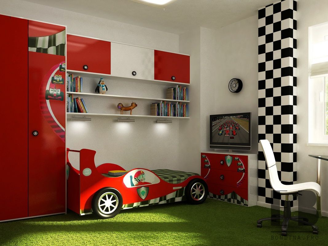 Children's room with cars