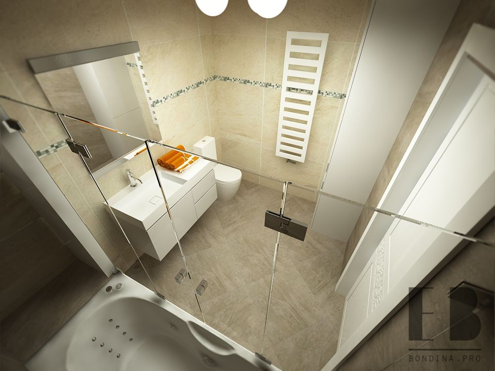 Interior design of a small bathroom