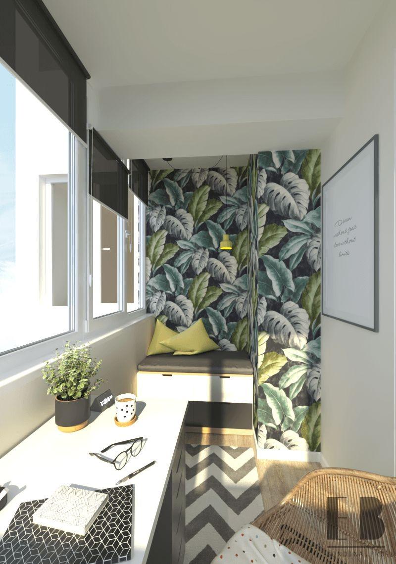 Рабочее место на балконе дизайн интерьера