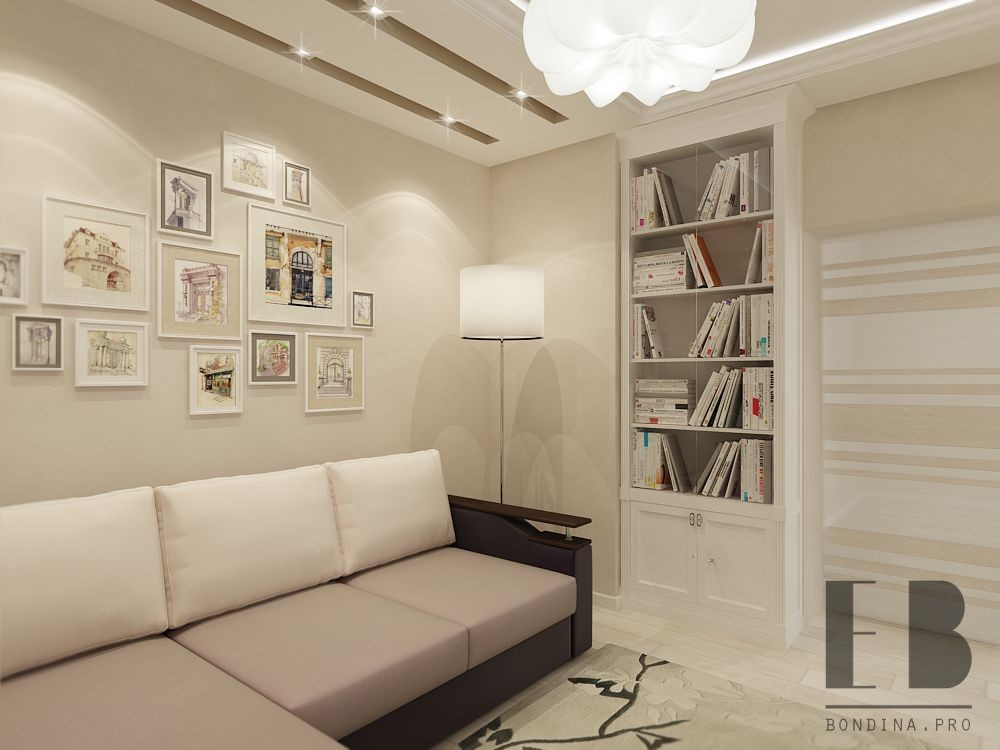 Living room interior in bright colors