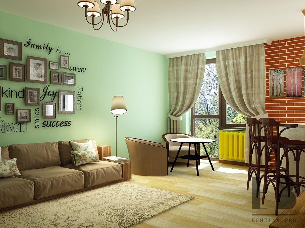 Living room in green interior design