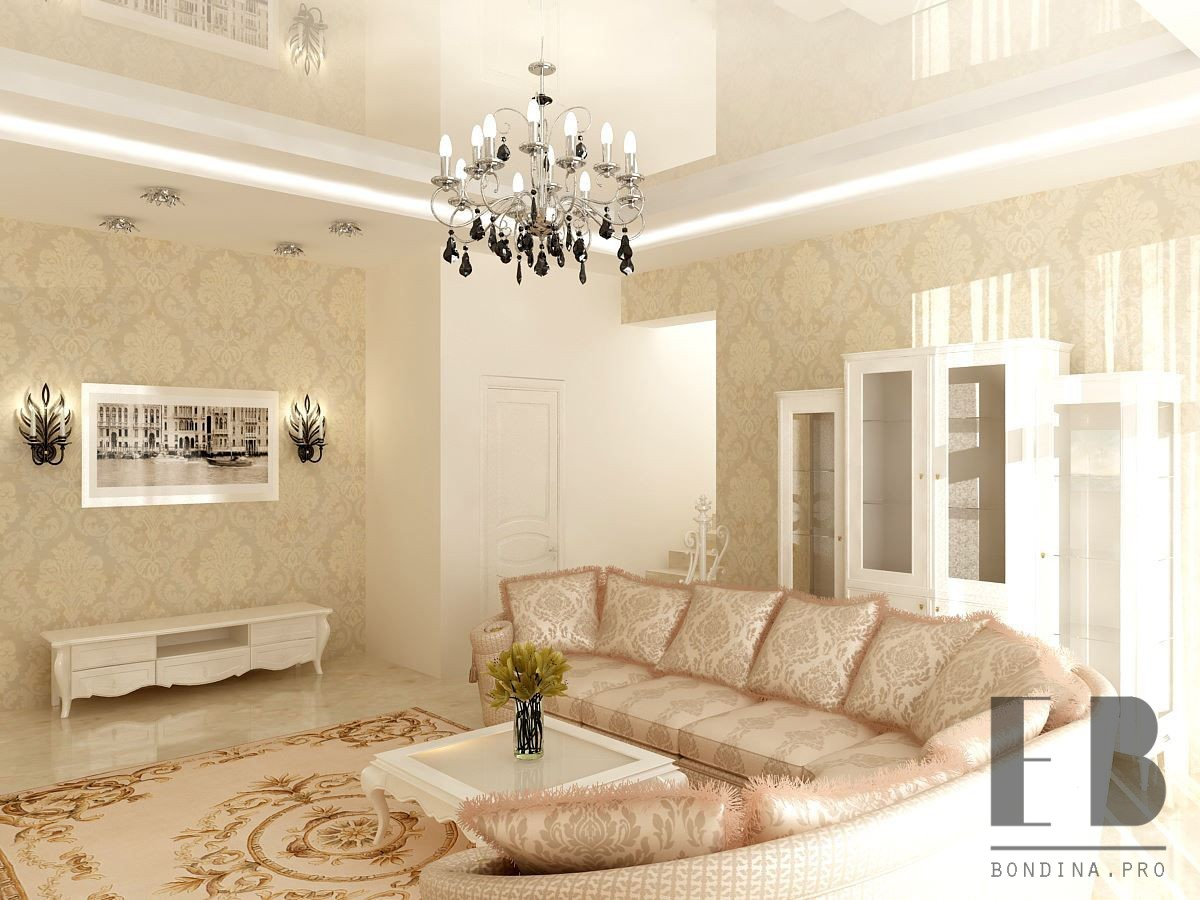 White and beige room design