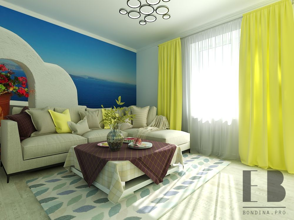 Living room interior with photo wallpaper