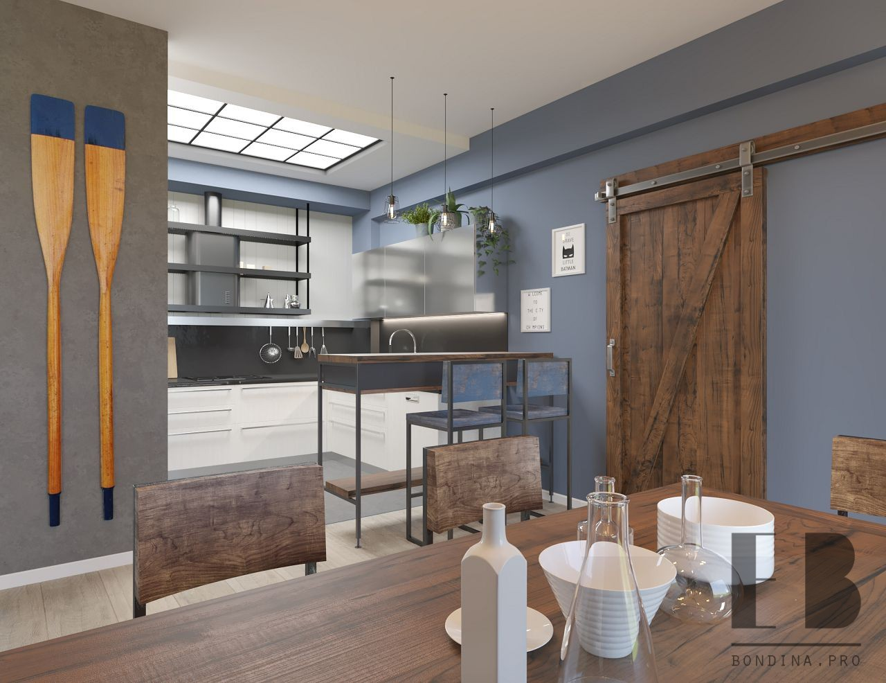 Loft style kitchen interior design