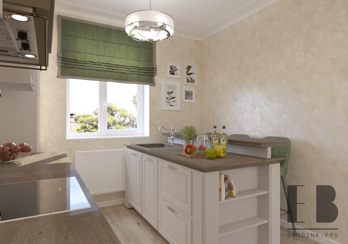 White neoclassical kitchen design