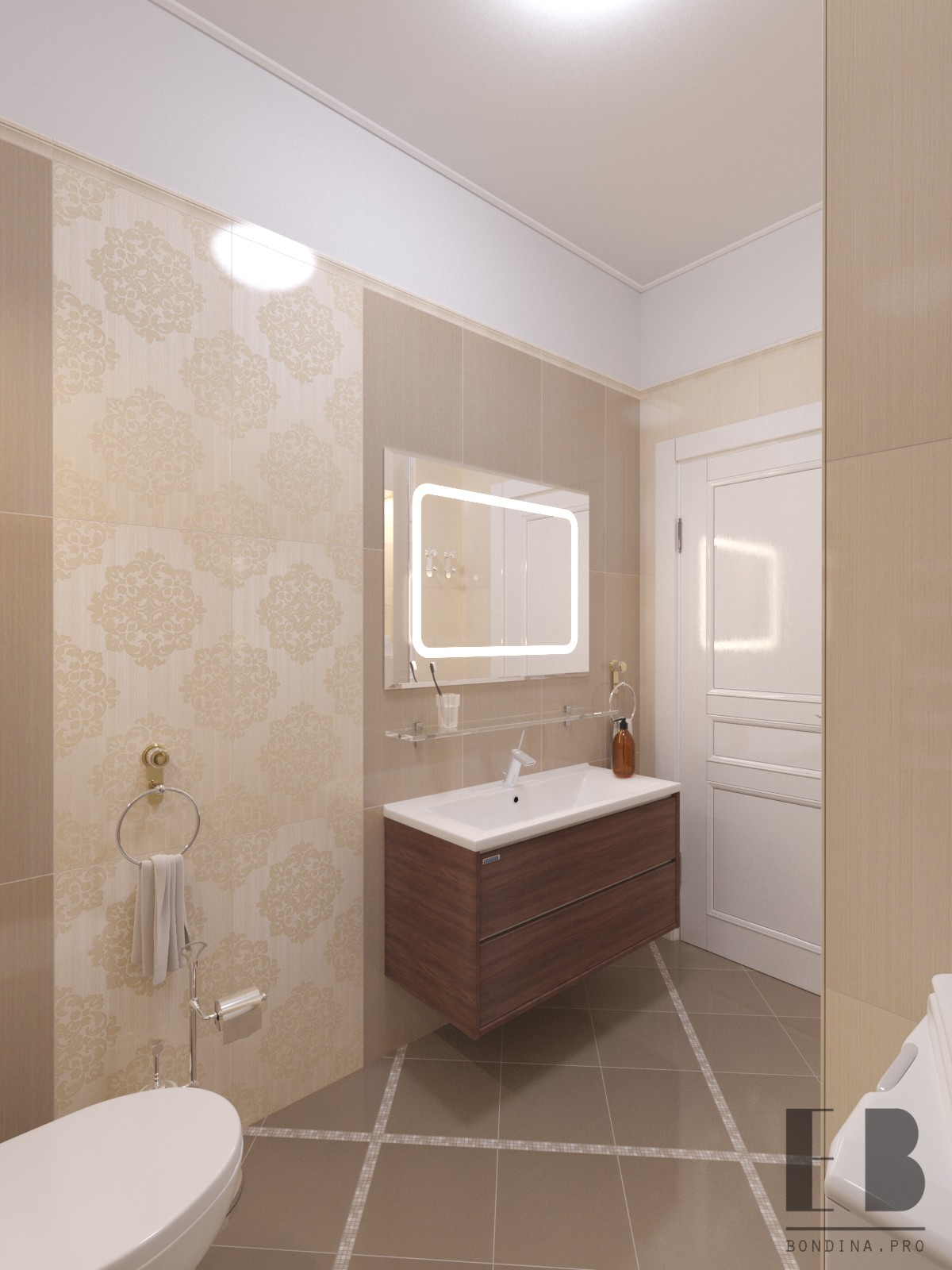 Elegant Beige Bathroom Interior