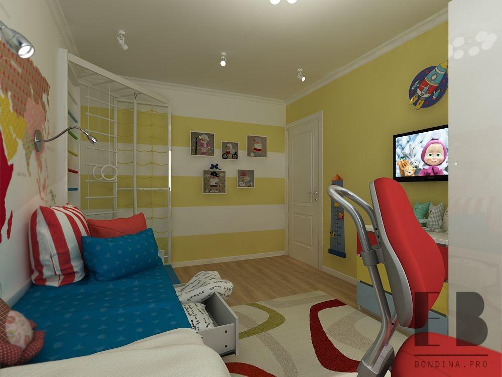 Интерьер детской комнаты в ярких тонах