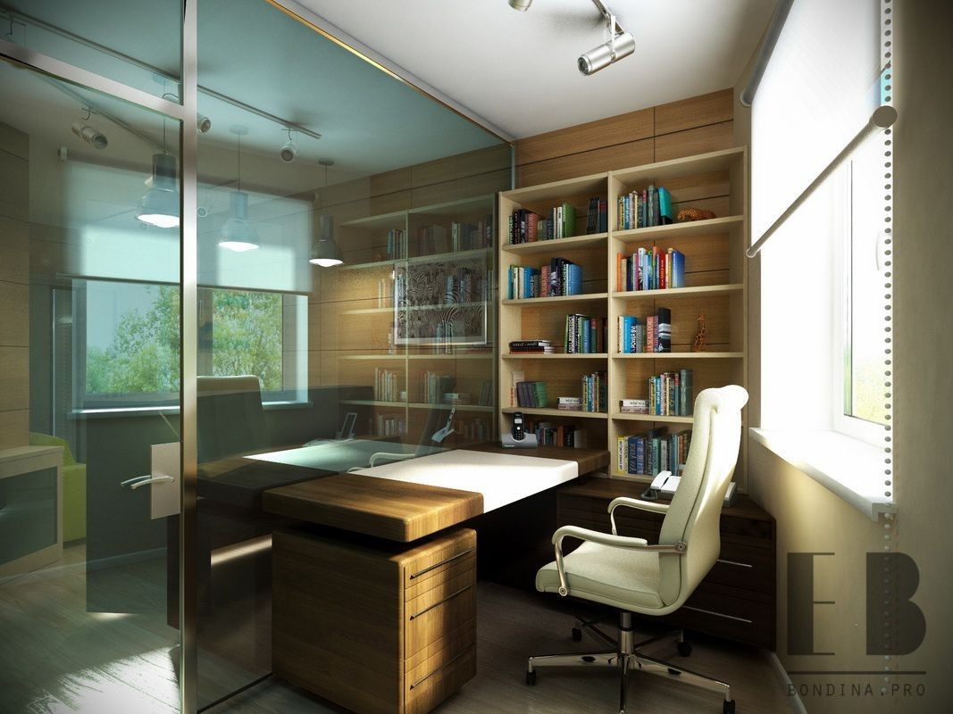 Interior Of Modern Office With Wooden Walls and Bookshelves and Glass Doors