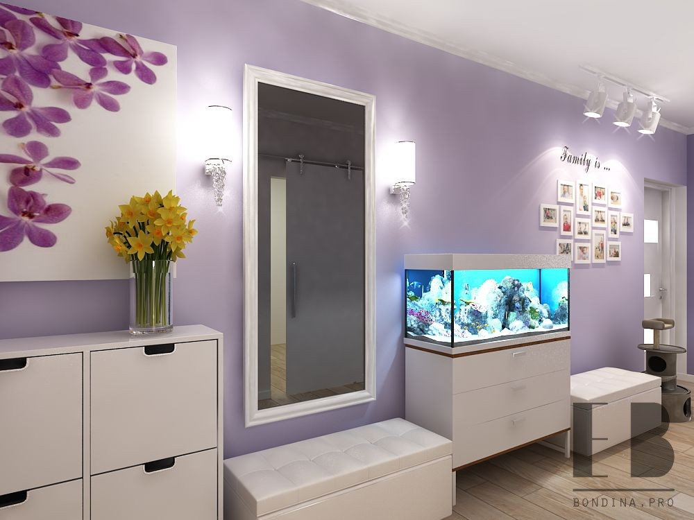 Design of a purple hallway with a large mirror