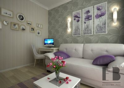 Grey and purple living room design