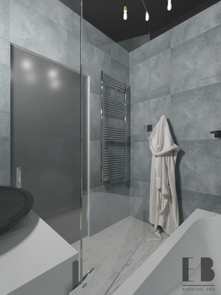 Dark loft style bathroom interior