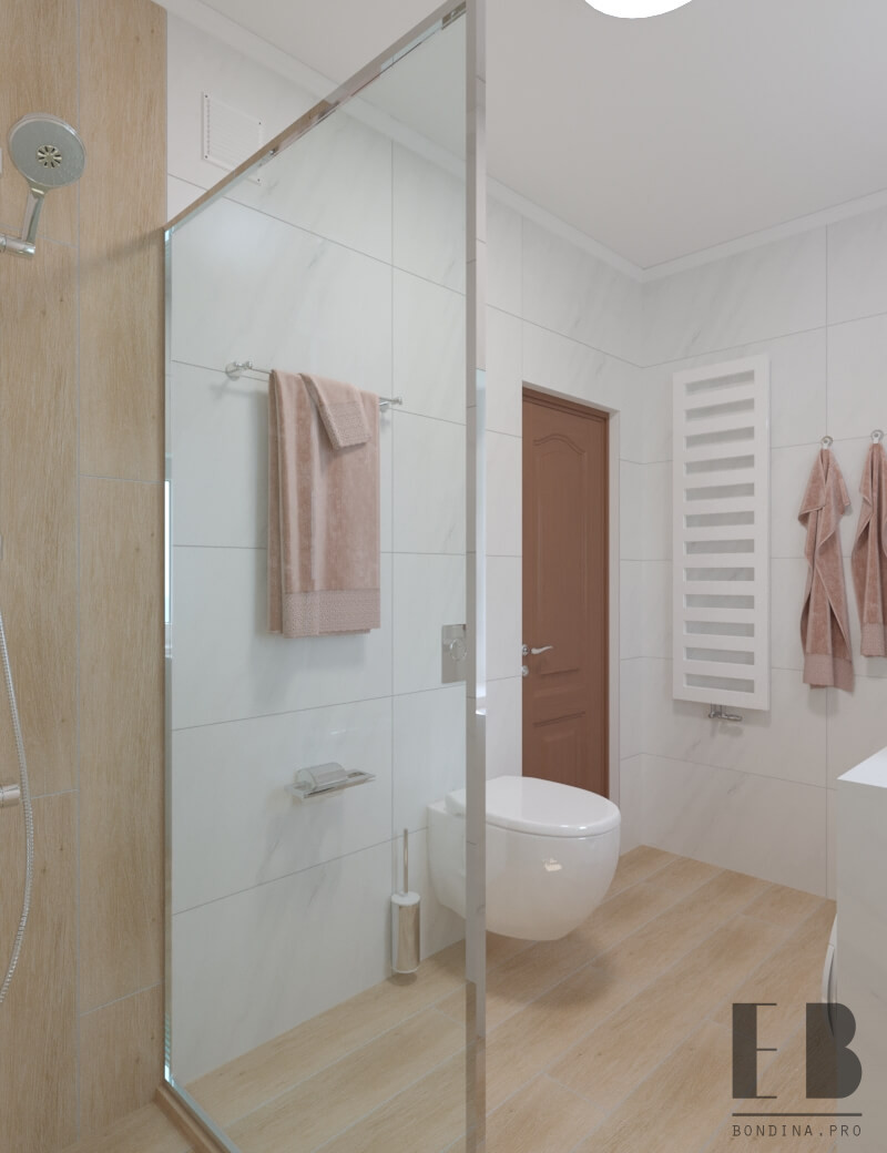 White and wood cozy shower
