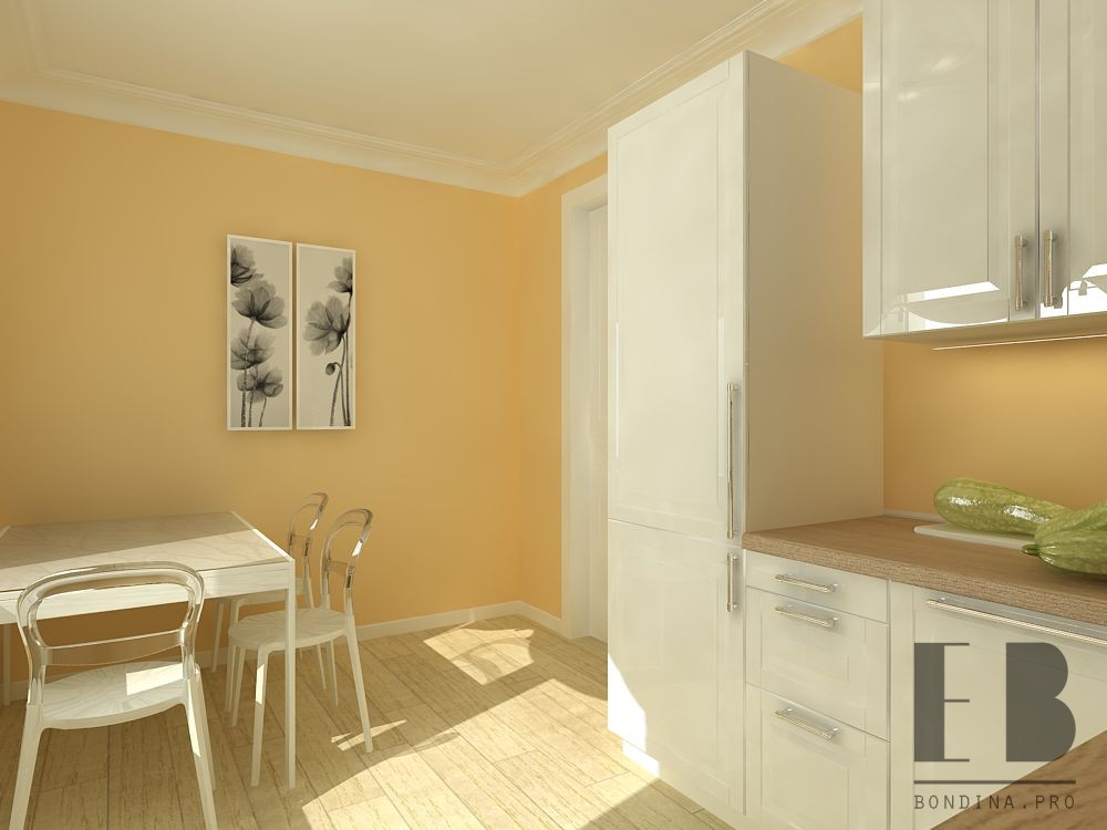 Kitchen design in calm color