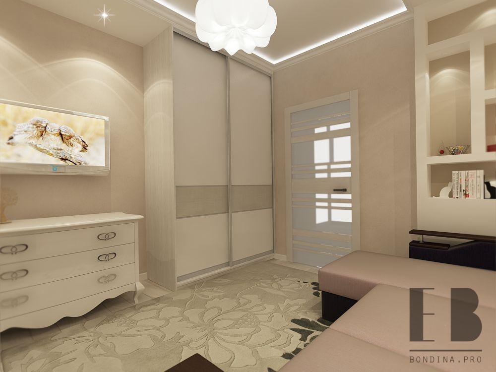 Sliding wardrobe for a small living room design