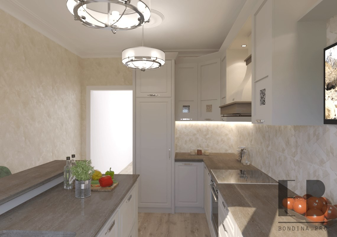 Neoclassical kitchen interior