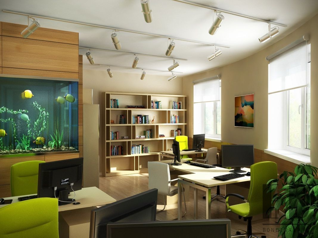 Interior of modern office with white and wooden walls, glass doors, wooden floor, tables with chairs and an aquarium