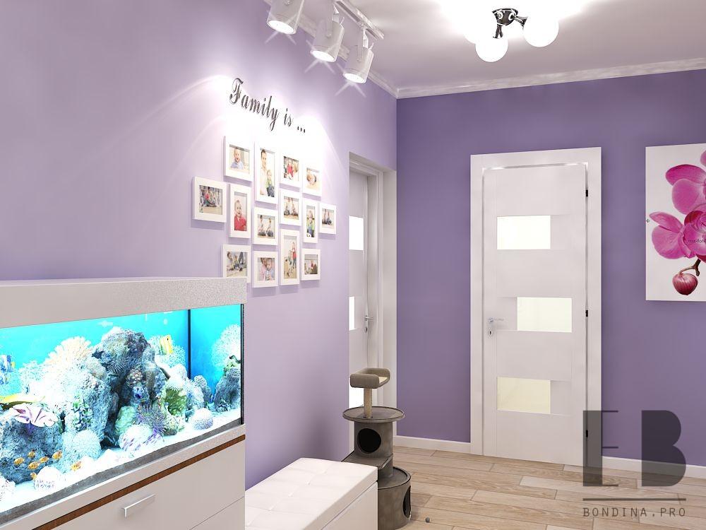 Hallway design with a large aquarium