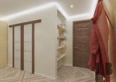 Long modern hallway with large wardrobe