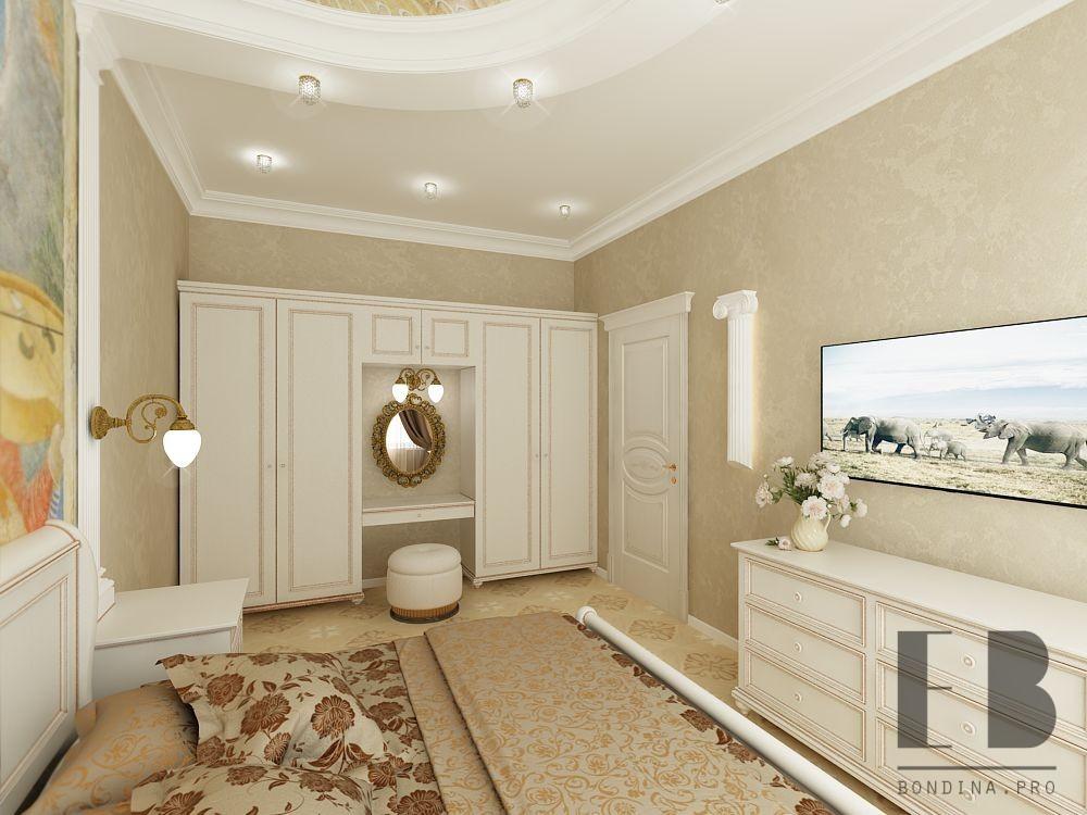 Bedroom in beige and brown tones. design