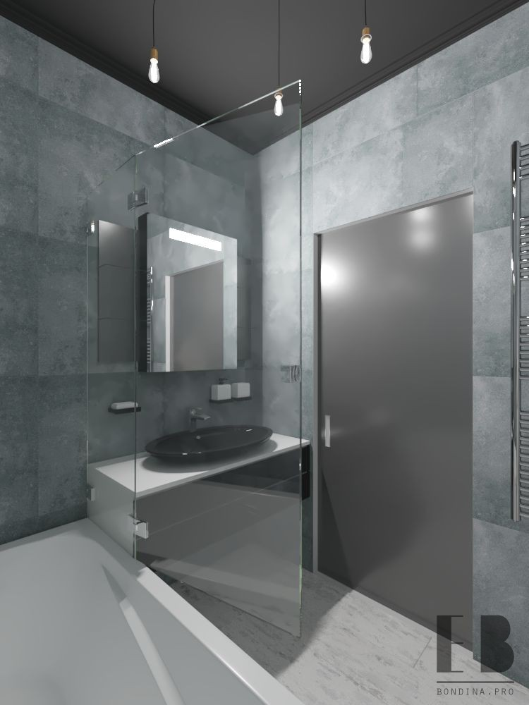 Gray black bathroom design