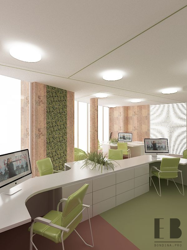 Trendy office design with white furniture and green plants