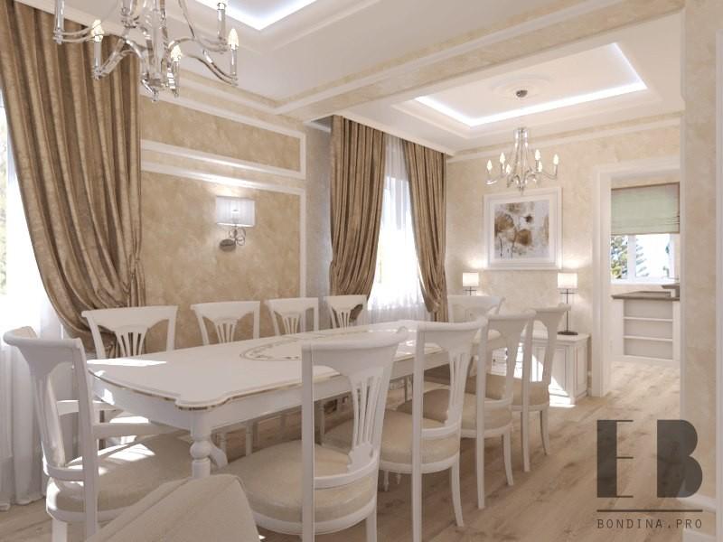 Дизайн гостиной-столовой в классическом стиле