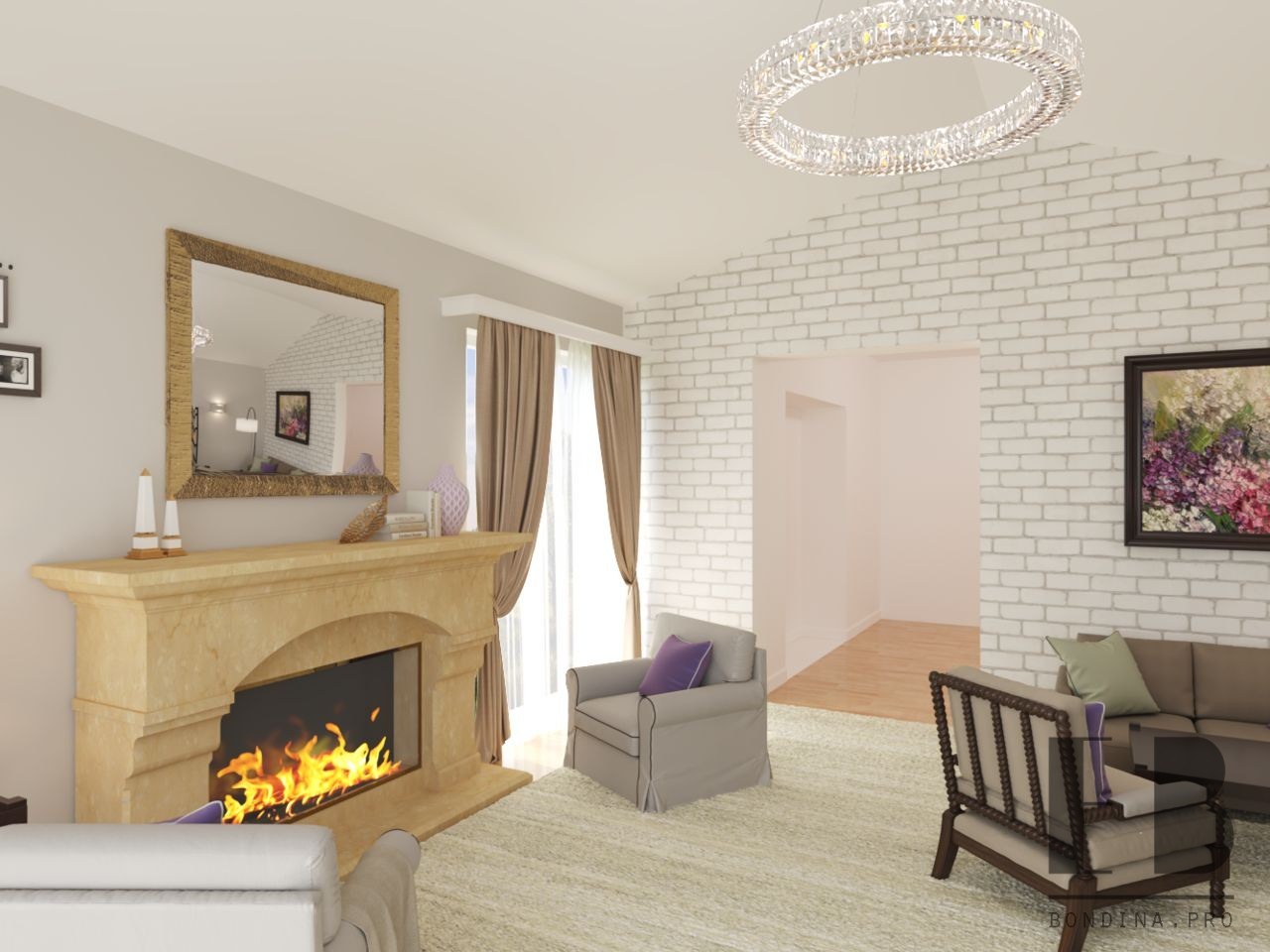 Гостиная с большим камином дизайн