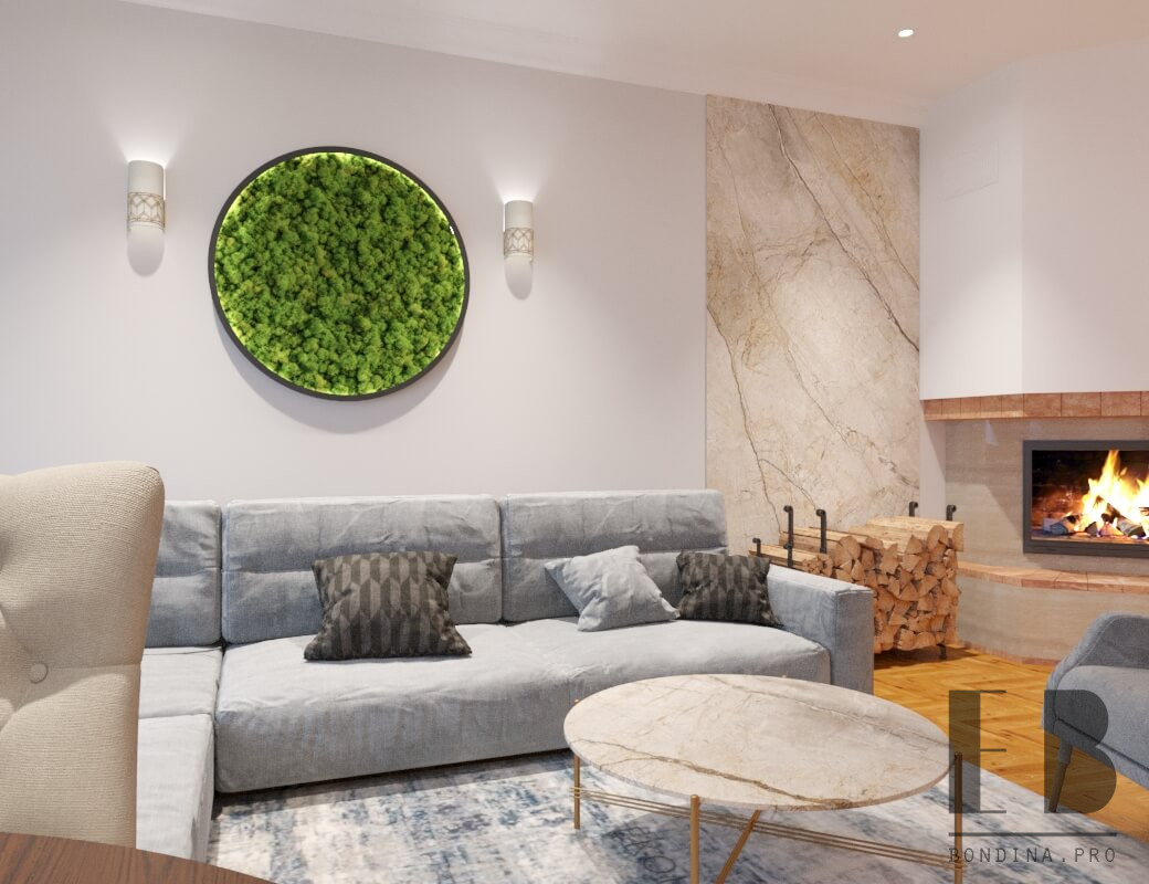 Modern living room design with fireplace and green