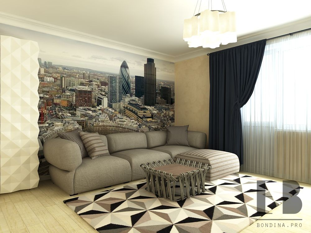 Living room design with photo wallpaper
