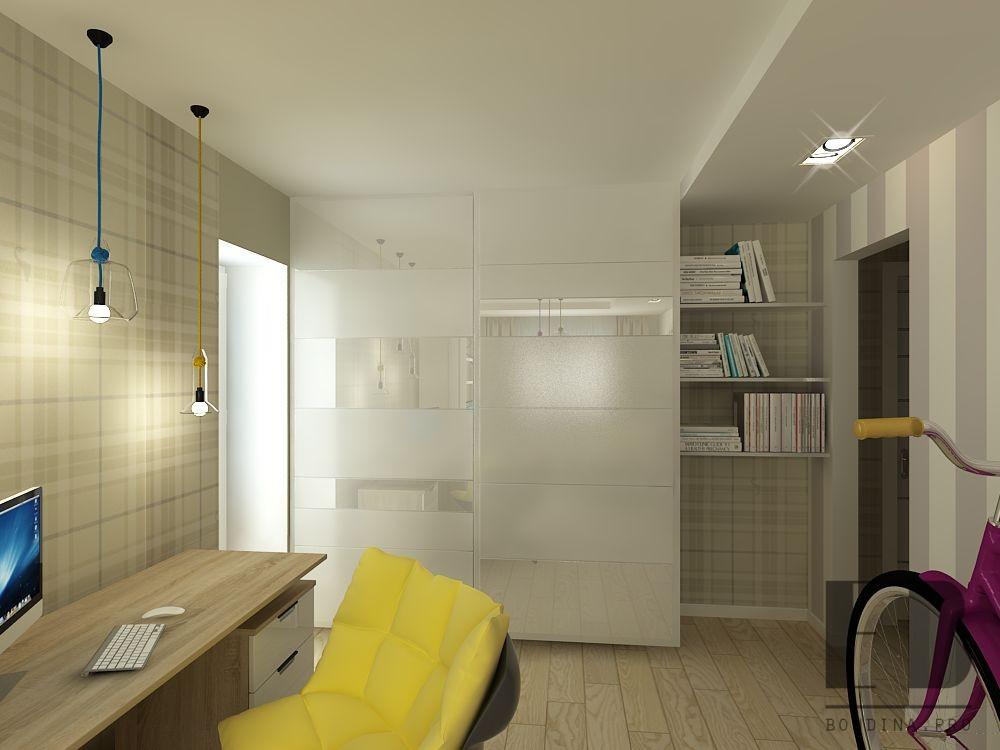 Living room with wardrobe interior design