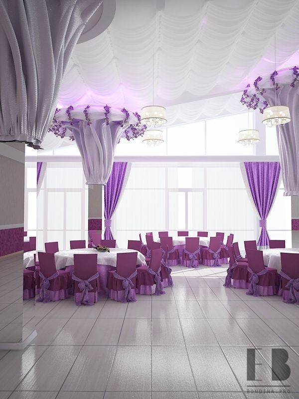 Banquet hall interior decoration in purple