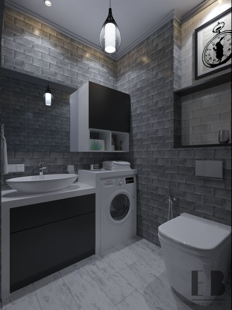 Dark toned bathroom interior
