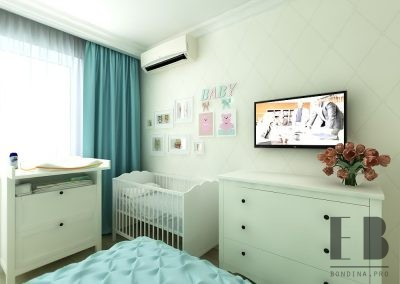Shared master bedroom and nursery