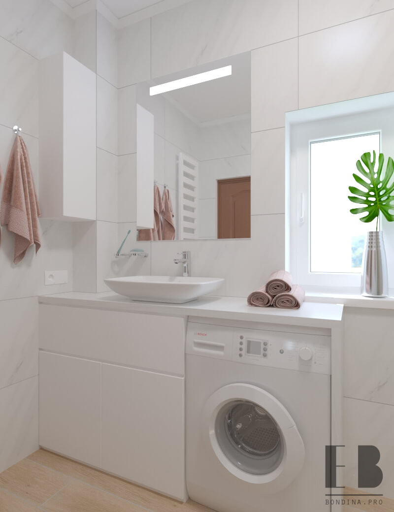 White cozy bathroom with glass shower and washing machine