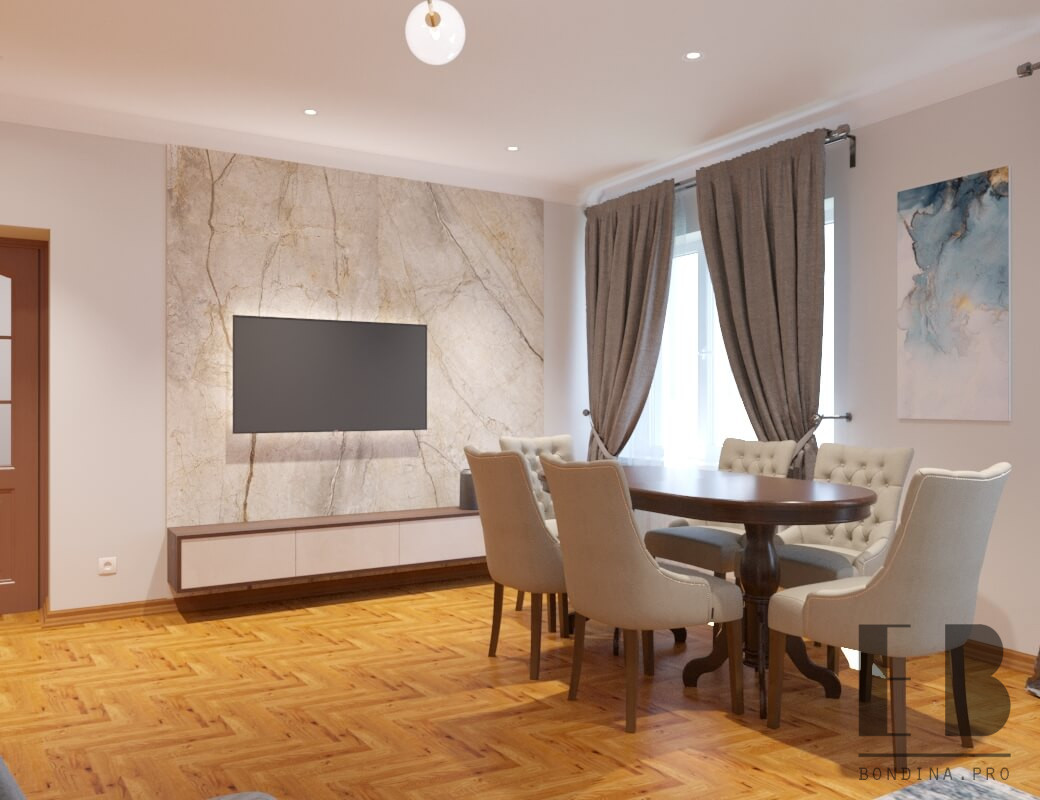 Modern living room design combined with dining room