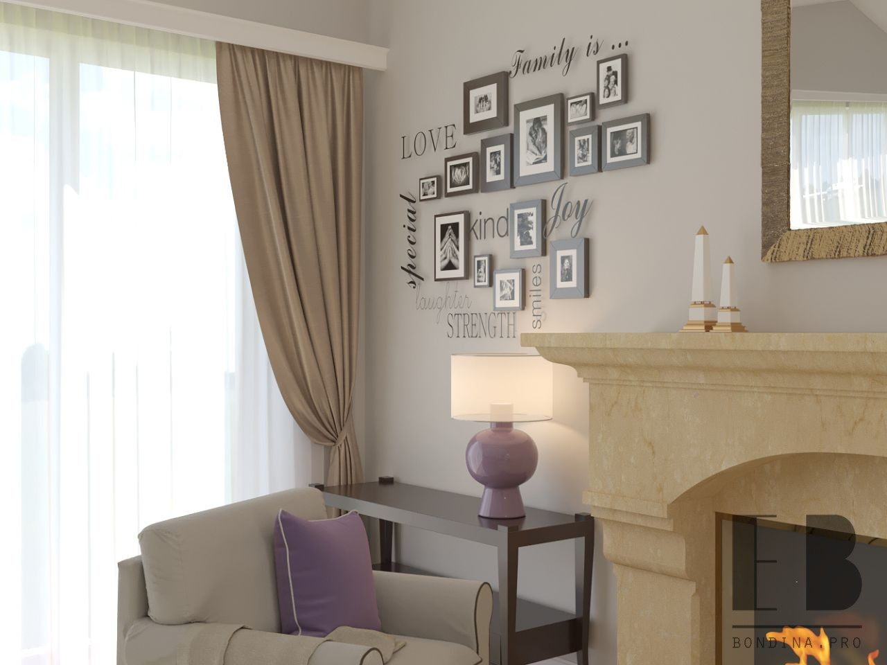 Photo collage in the living room design