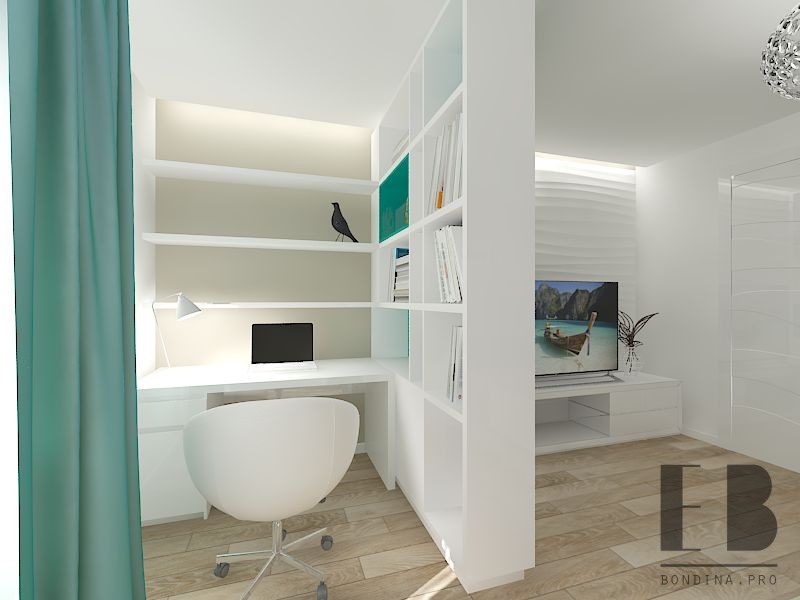 Workplace in the living room design