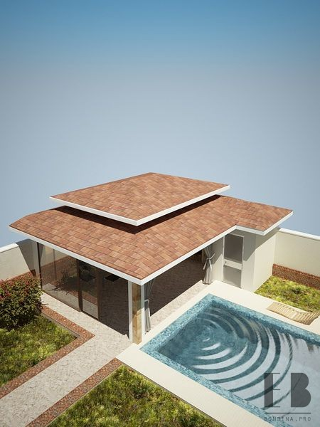 Design veranda with pool