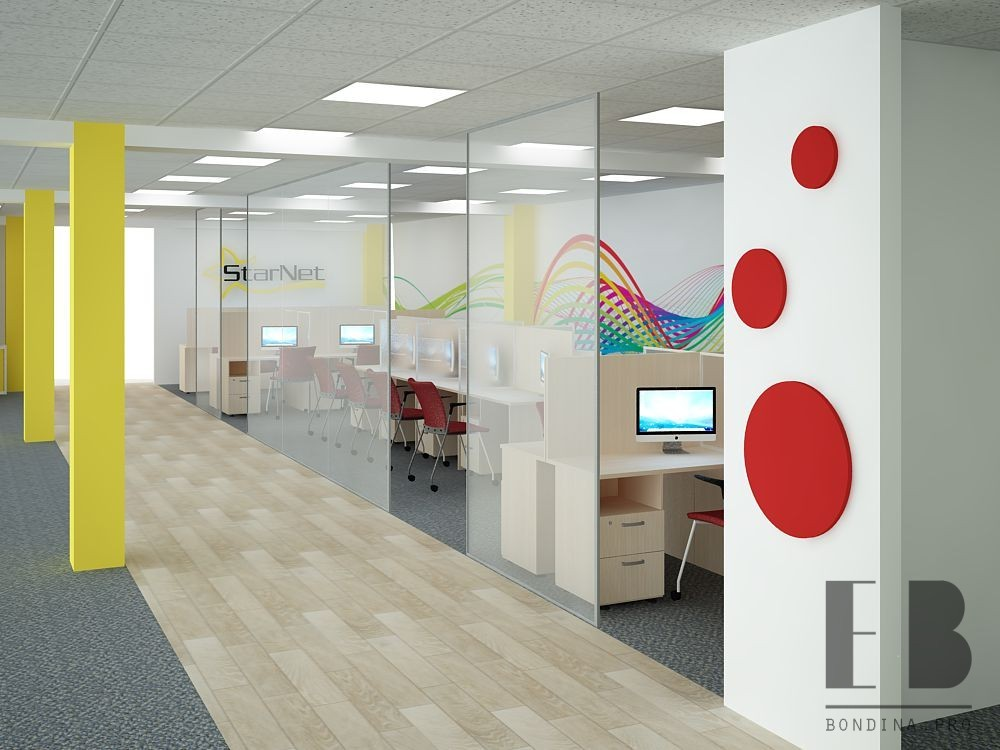 Interior design of a large office