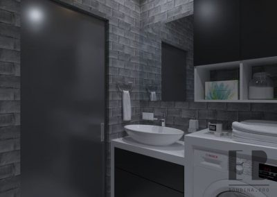 Dark grey bathroom design