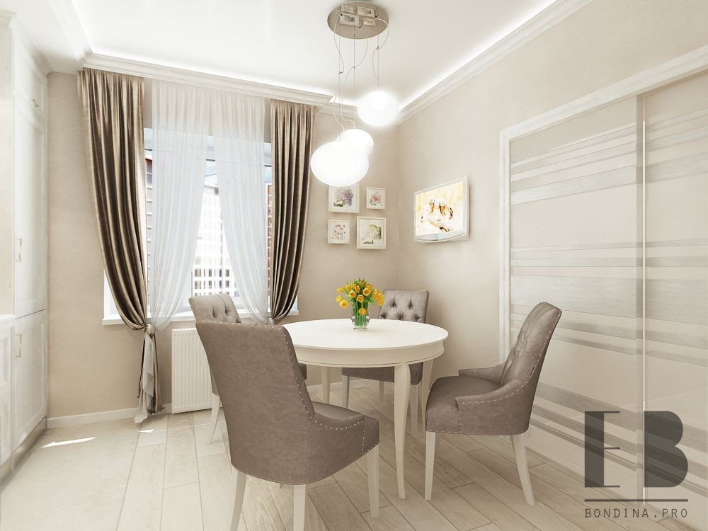 Round table with soft chairs in the kitchen design