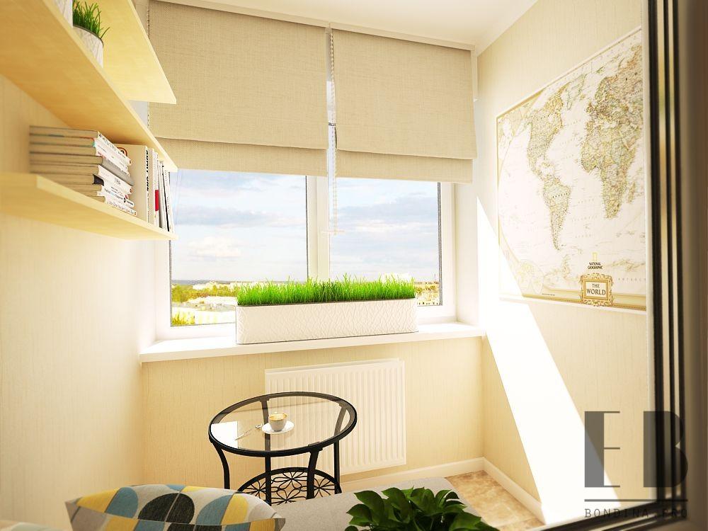 Балкон в светлых тонах интерьер