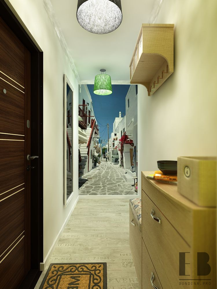 Wall mural in the hallway design