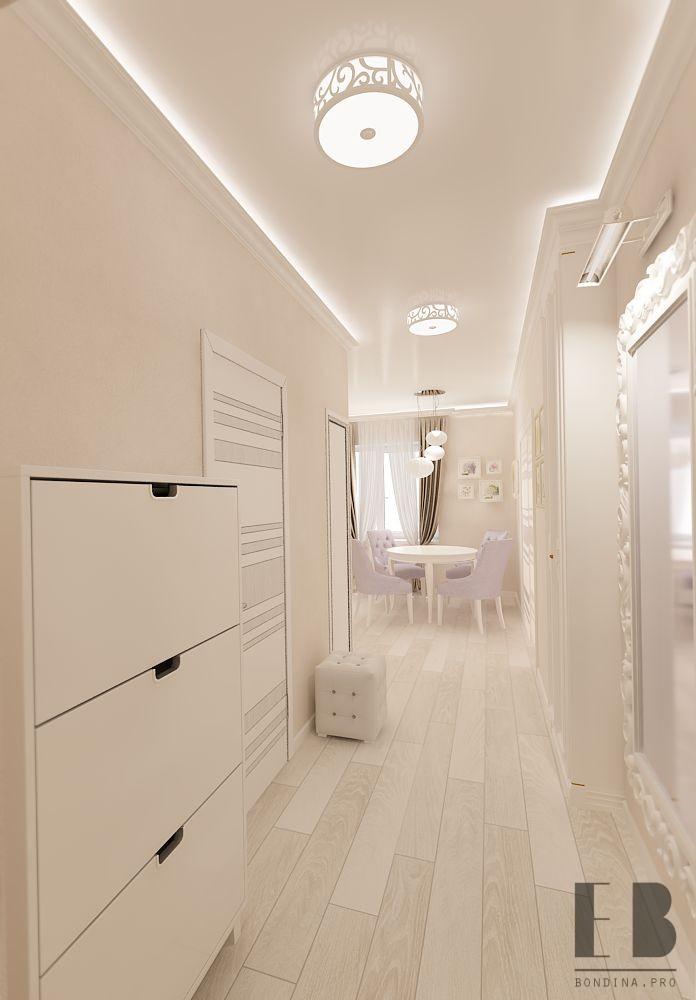 Corridor design of the apartment in white