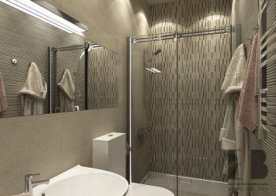 Elegant Beige Bathroom Interior With Walk-In Shower