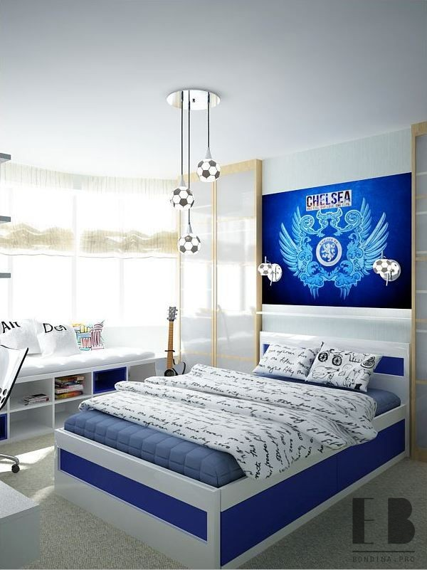 Boys football themed bedroom design