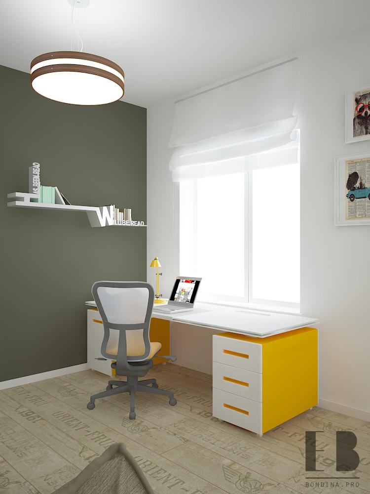 Рабочий стол в желтых тонах дизайн