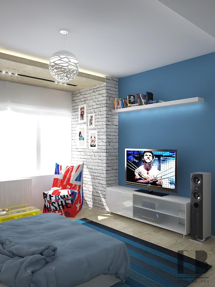 Спальня в синих тонах дизайн