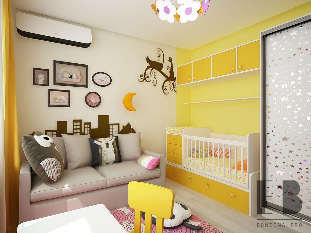 Детская комната в желтом интерьер