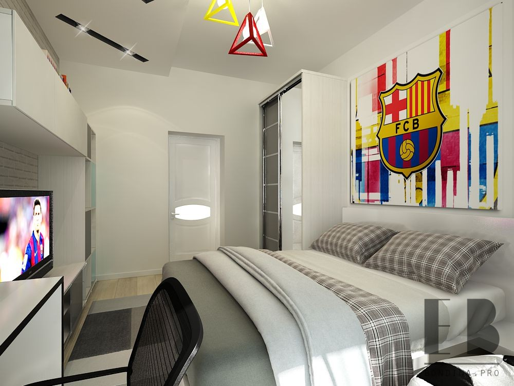 Room interior for a boy with a large bed